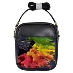Green Yellow Red Maple Leaf Girls Sling Bags by BangZart