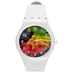 Green Yellow Red Maple Leaf Round Plastic Sport Watch (m) by BangZart