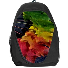 Green Yellow Red Maple Leaf Backpack Bag by BangZart