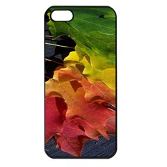 Green Yellow Red Maple Leaf Apple Iphone 5 Seamless Case (black) by BangZart