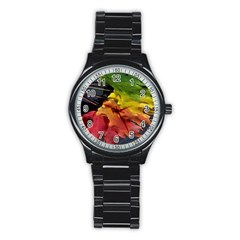 Green Yellow Red Maple Leaf Stainless Steel Round Watch