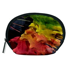 Green Yellow Red Maple Leaf Accessory Pouches (medium)