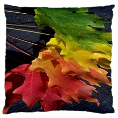 Green Yellow Red Maple Leaf Standard Flano Cushion Case (one Side)