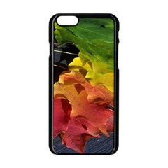 Green Yellow Red Maple Leaf Apple Iphone 6/6s Black Enamel Case by BangZart