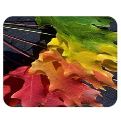Green Yellow Red Maple Leaf Double Sided Flano Blanket (medium)