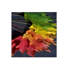 Green Yellow Red Maple Leaf Satin Bandana Scarf