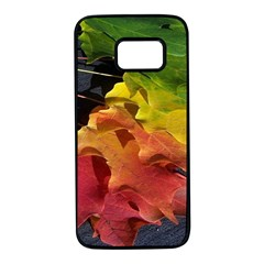 Green Yellow Red Maple Leaf Samsung Galaxy S7 Black Seamless Case by BangZart