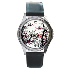 Pink Flower Ink Painting Art Round Metal Watch