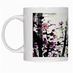 Pink Flower Ink Painting Art White Mugs by BangZart
