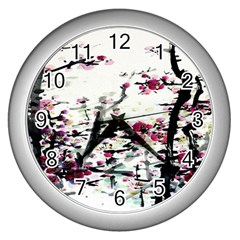 Pink Flower Ink Painting Art Wall Clocks (silver)  by BangZart