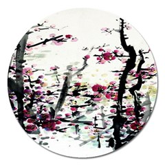 Pink Flower Ink Painting Art Magnet 5  (round) by BangZart