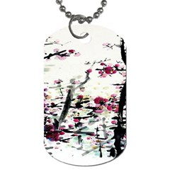 Pink Flower Ink Painting Art Dog Tag (one Side) by BangZart