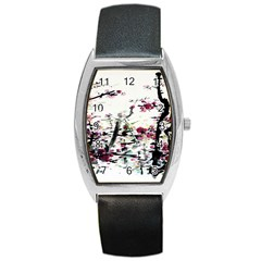 Pink Flower Ink Painting Art Barrel Style Metal Watch by BangZart