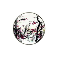 Pink Flower Ink Painting Art Hat Clip Ball Marker (4 Pack) by BangZart
