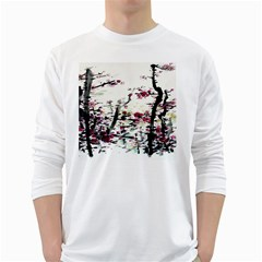 Pink Flower Ink Painting Art White Long Sleeve T Shirts