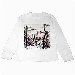 Pink Flower Ink Painting Art Kids Long Sleeve T Shirts