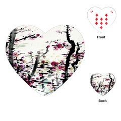 Pink Flower Ink Painting Art Playing Cards (heart)