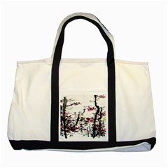Pink Flower Ink Painting Art Two Tone Tote Bag by BangZart