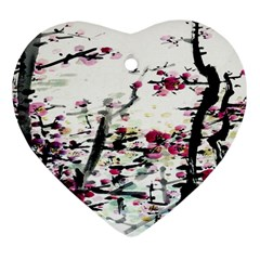 Pink Flower Ink Painting Art Heart Ornament (two Sides) by BangZart