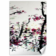 Pink Flower Ink Painting Art Canvas 12  X 18