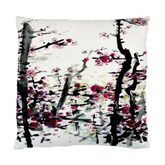 Pink Flower Ink Painting Art Standard Cushion Case (one Side)