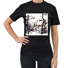 Pink Flower Ink Painting Art Women s T Shirt (black) by BangZart