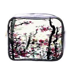 Pink Flower Ink Painting Art Mini Toiletries Bags by BangZart