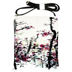 Pink Flower Ink Painting Art Shoulder Sling Bags