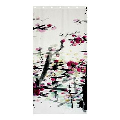 Pink Flower Ink Painting Art Shower Curtain 36  X 72  (stall)