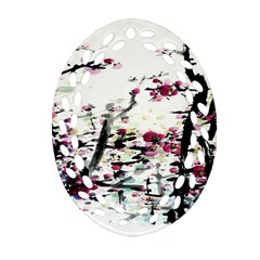 Pink Flower Ink Painting Art Oval Filigree Ornament (two Sides)