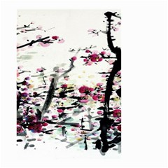Pink Flower Ink Painting Art Small Garden Flag (two Sides) by BangZart