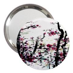 Pink Flower Ink Painting Art 3  Handbag Mirrors by BangZart