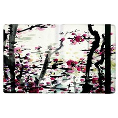 Pink Flower Ink Painting Art Apple Ipad 3/4 Flip Case by BangZart