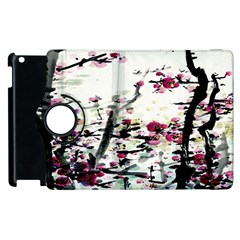 Pink Flower Ink Painting Art Apple Ipad 2 Flip 360 Case by BangZart