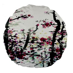 Pink Flower Ink Painting Art Large 18  Premium Round Cushions by BangZart