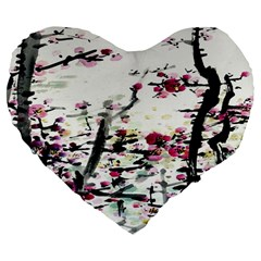 Pink Flower Ink Painting Art Large 19  Premium Heart Shape Cushions by BangZart