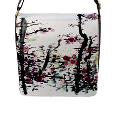 Pink Flower Ink Painting Art Flap Messenger Bag (l)  by BangZart