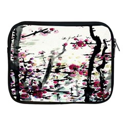 Pink Flower Ink Painting Art Apple Ipad 2/3/4 Zipper Cases