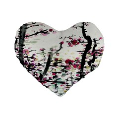 Pink Flower Ink Painting Art Standard 16  Premium Flano Heart Shape Cushions by BangZart