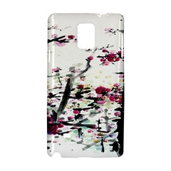 Pink Flower Ink Painting Art Samsung Galaxy Note 4 Hardshell Case by BangZart