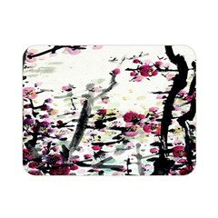 Pink Flower Ink Painting Art Double Sided Flano Blanket (mini)  by BangZart