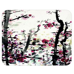 Pink Flower Ink Painting Art Double Sided Flano Blanket (medium)