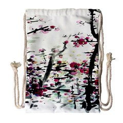 Pink Flower Ink Painting Art Drawstring Bag (large) by BangZart