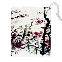 Pink Flower Ink Painting Art Drawstring Pouches (xxl) by BangZart