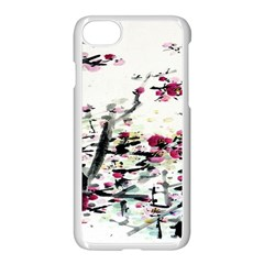 Pink Flower Ink Painting Art Apple Iphone 7 Seamless Case (white)