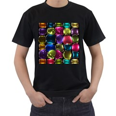 Stained Glass Men s T Shirt (black) (two Sided)