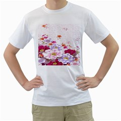 Sweet Flowers Men s T Shirt (white) (two Sided)