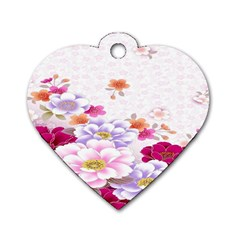 Sweet Flowers Dog Tag Heart (two Sides)