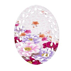 Sweet Flowers Oval Filigree Ornament (two Sides) by BangZart