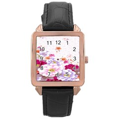 Sweet Flowers Rose Gold Leather Watch  by BangZart